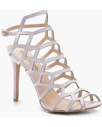 5cc754523e43 Boohoo Peeptoe Block Heel Sandals in Brown - Lyst