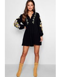Boohoo - Petite Heavily Embroidered Smock Dress - Lyst