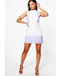 Boohoo - Boutique Mol Crochet & Lace Panel Shift Dress - Lyst