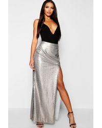 da56a958ce Boohoo Boutique Lola Thigh Split Sequin Maxi Skirt in Gray - Lyst