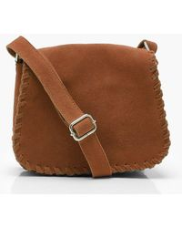 Boohoo - Kate Real Suede Whipstitch Saddle Bag - Lyst
