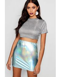 Boohoo - Metallic Mini Skirt - Lyst