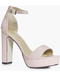 aff37540d61e Lyst - Boohoo Amy Wide Fit Platform Two Part Heel in White