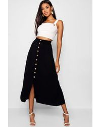 d21b3e164a Boohoo Maternity Soft Rib Mock Horn Button Midi Skirt in Black - Lyst