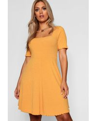 Boohoo - Plus Square Neck Ribbed Skater Dress - Lyst