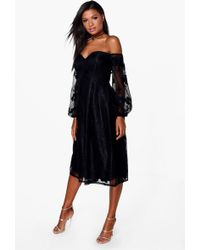 Boohoo - Boutique Le Lace Bardot Long Sleeved Dress - Lyst