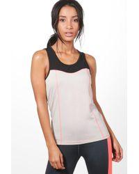 Boohoo - Lilly Fit Mesh Neon Stitch Running Vest - Lyst