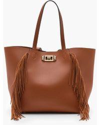 Boohoo | Olivia Fringe & Lock Shopper Bag | Lyst