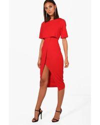 Boohoo - Layered Wrap Wiggle Midi Dress - Lyst
