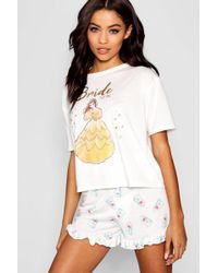 Boohoo Disney Belle 'bride To Be' Frill Pj Short Set