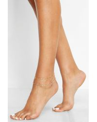 Boohoo - Circle Link Chain Anklet - Lyst