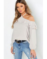 aef8483acc46eb Lyst - Boohoo Satin Halter Ruffle Cold Shoulder Top