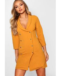 Boohoo - Double Breasted Gold Button Blazer Dress - Lyst