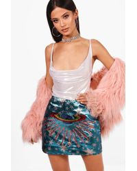 Boohoo - Woven Star & Planet Sequin Embroidered Skirt - Lyst