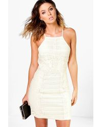 Boohoo - Louise Panelled Lace Bodycon Dress - Lyst