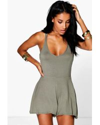 Boohoo - Strappy Back Swing Playsuit - Lyst