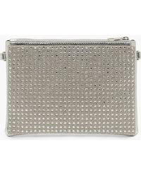 Boohoo - All Over Diamante Zip Top Clutch With Chain - Lyst