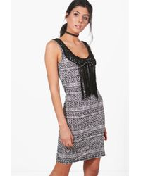 Boohoo | Faye Mono Crochet Tassle Bodycon Dress | Lyst
