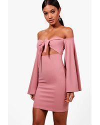Boohoo - Flared Sleeve Bodycon Dress - Lyst