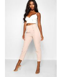 Boohoo - Military Button Detail Tapered Trouser - Lyst