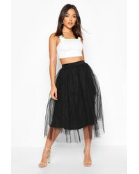 Boohoo Womens Tulle Midi Skirt - Black - 4