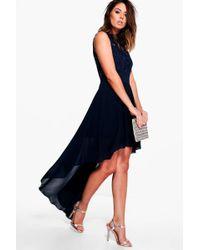 Boohoo - Boutique Ruby Lace Top Chiffon Dip Hem Dress - Lyst