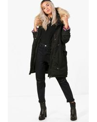 Boohoo - Boutique Jenny Parka With Faux Fur Trim - Lyst
