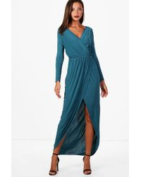 Boohoo - Tall Slinky Wrap Maxi Dress - Lyst