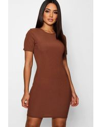 f83c1733efcc2 Lyst - Boohoo Basic Rib Crew Bodycon Dress in Natural