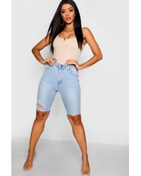 Boohoo - Stretch Denim Cycling Shorts - Lyst