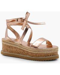 Boohoo - Gracie Flatform Espadrille Tie Up Sandals - Lyst
