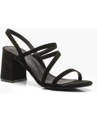 93dc7ad5fb7 Boohoo Fringe Wrap Strap Sandals in Black - Lyst