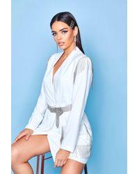 552968873b06 Lyst - ASOS Premium Mixed Floral & Tile Print Satin Kimono Pyjama ...
