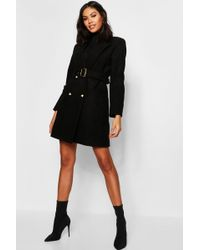 Boohoo - Military Double Breasted Wool Look Coat - Lyst