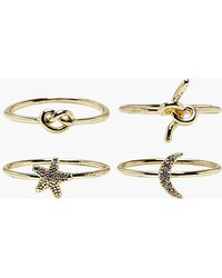 Boohoo - Galactic Knot Rings 4 Pack - Lyst