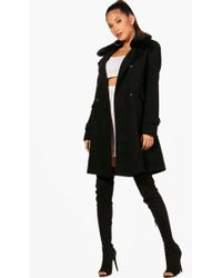 Boohoo - Katie Faux Fur Collar Double Breasted Coat - Lyst