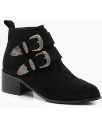 Boohoo - Western Buckle Chelsea Ankle Boots - Lyst