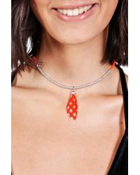 Boohoo - Molly Feather Detail Choker - Lyst