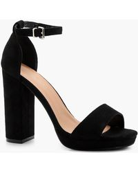 b08e704df160 Lyst - Boohoo Zoe Wide Fit Cut Out Block Heel Sandal in Black