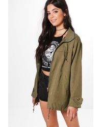Boohoo - Molly Oversized Hooded Utility Jacket - Lyst