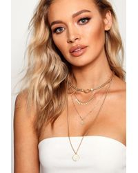 Boohoo - Lily Layered Coin And Choker Necklace Pack - Lyst