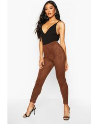 Boohoo Stretch Suede Seam Front Leggings - Brown