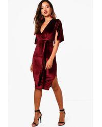 c20c0c9d038fa Boohoo Sally 3/4 Sleeve Pleated Shift Dress in Black - Lyst