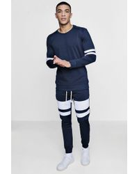 Boohoo | Panelled Tricot Tracksuit Jumper | Lyst