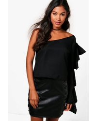 Boohoo - One Shoulder Ruffle Woven Top - Lyst