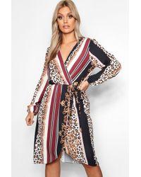 Boohoo - Plus Chain Mixed Print Wrap Midi Dress - Lyst