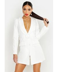 Boohoo - Woven Self Belt Round Buckle Blazer Dress - Lyst