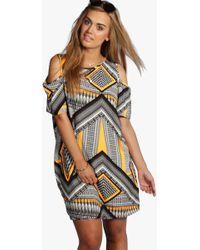 Boohoo - Plus Aztec Print Open Shoulder Shift Dress - Lyst