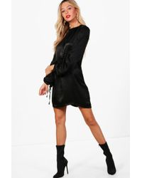 Boohoo - Hammered Satin Blouson Sleeve Shift Dress - Lyst