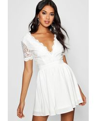 Boohoo Boutique Lace Skater Dress in White - Lyst 263e9279f